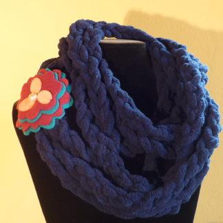 collana-sciarpa treccia blu