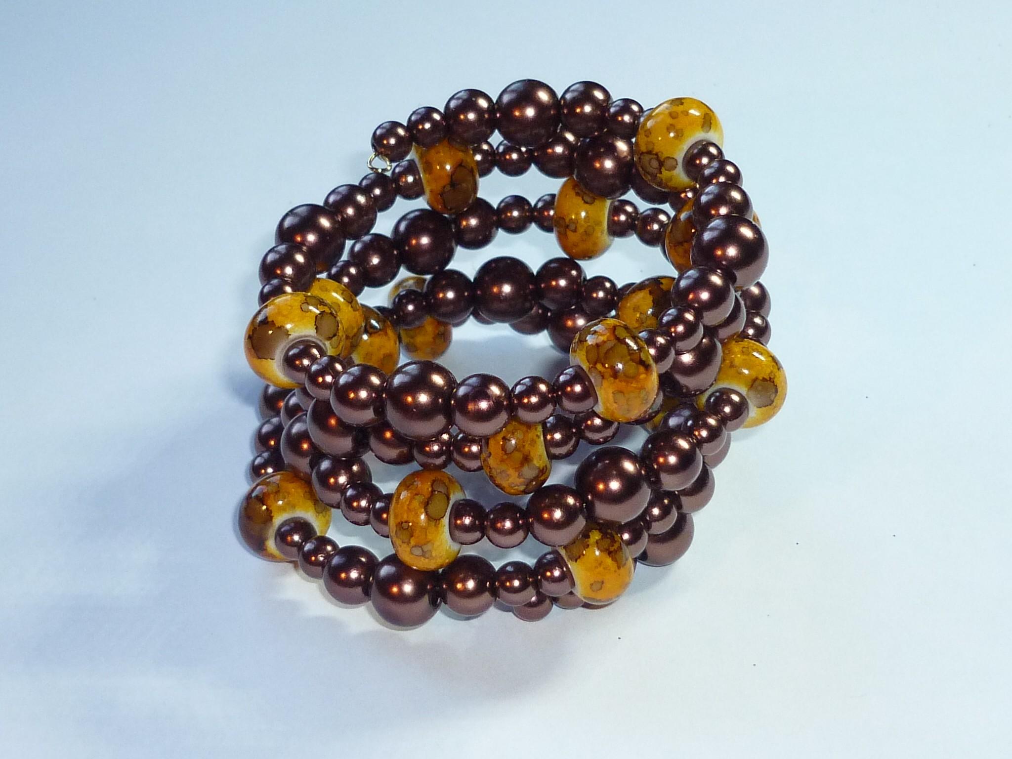 Bracciale perle marrone