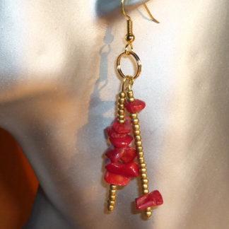 Orecchini corallo rosso e oro