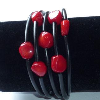 Bracciale corallo rosso e nero