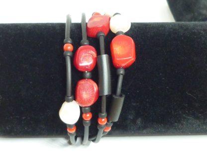 Bracciale corallo rosso e perle