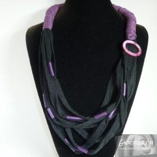 Collana fettuccia nero-viola