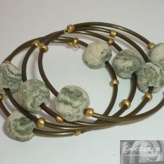 Bracciale lava verde e oro